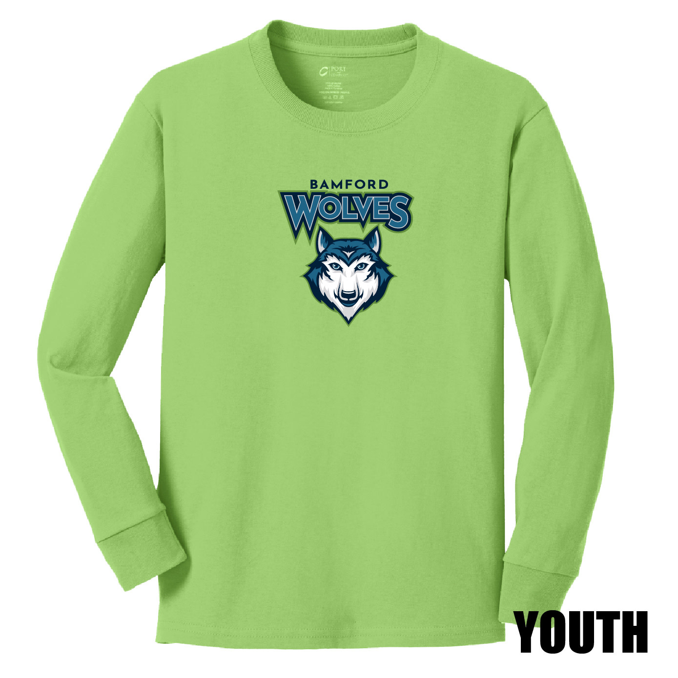 Port Authority Port & Company Youth Long Sleeve Core Cotton Tee (Lime)