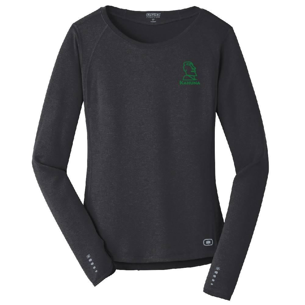 Ogio OGIO® ENDURANCE Ladies Long Sleeve Pulse Crew (Blacktop w/green logo)