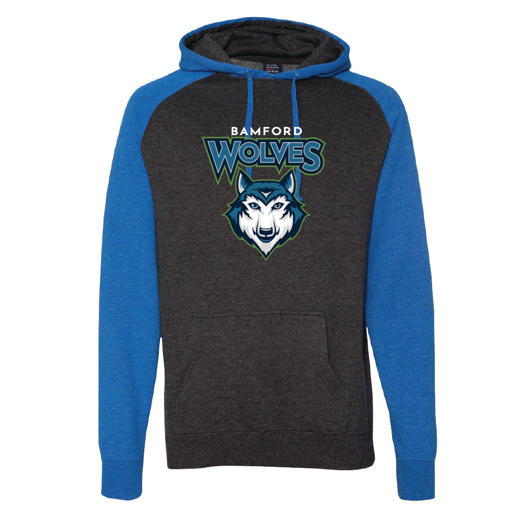 Independent Trading Co. Raglan Hooded Sweatshirt (Charcoal Heather/Royal)