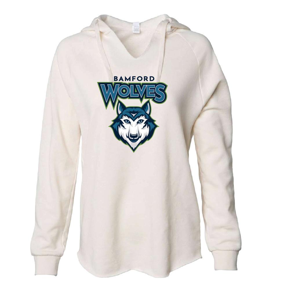 Independent Trading Co. Women's Lightweight California Wave Wash Hooded Sweatshirt (Bone)