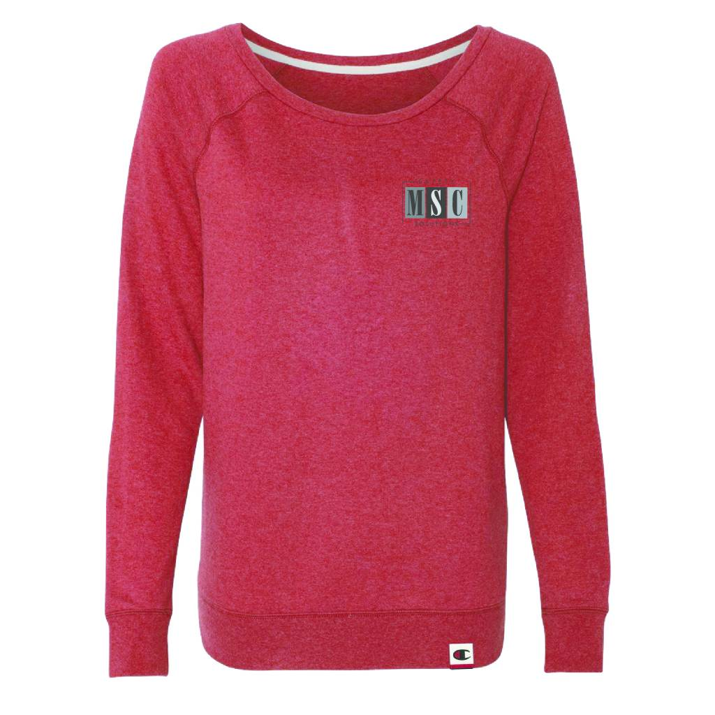 Champion Champion -Women's French Terry Boat Neck Sweatshirt ( Carmine Red Heather )