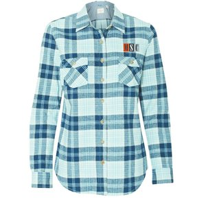 Weatherproof Weatherproof - Vintage Women's Brushed Flannel Long Sleeve Shirt ( Powder Blue Plaid )