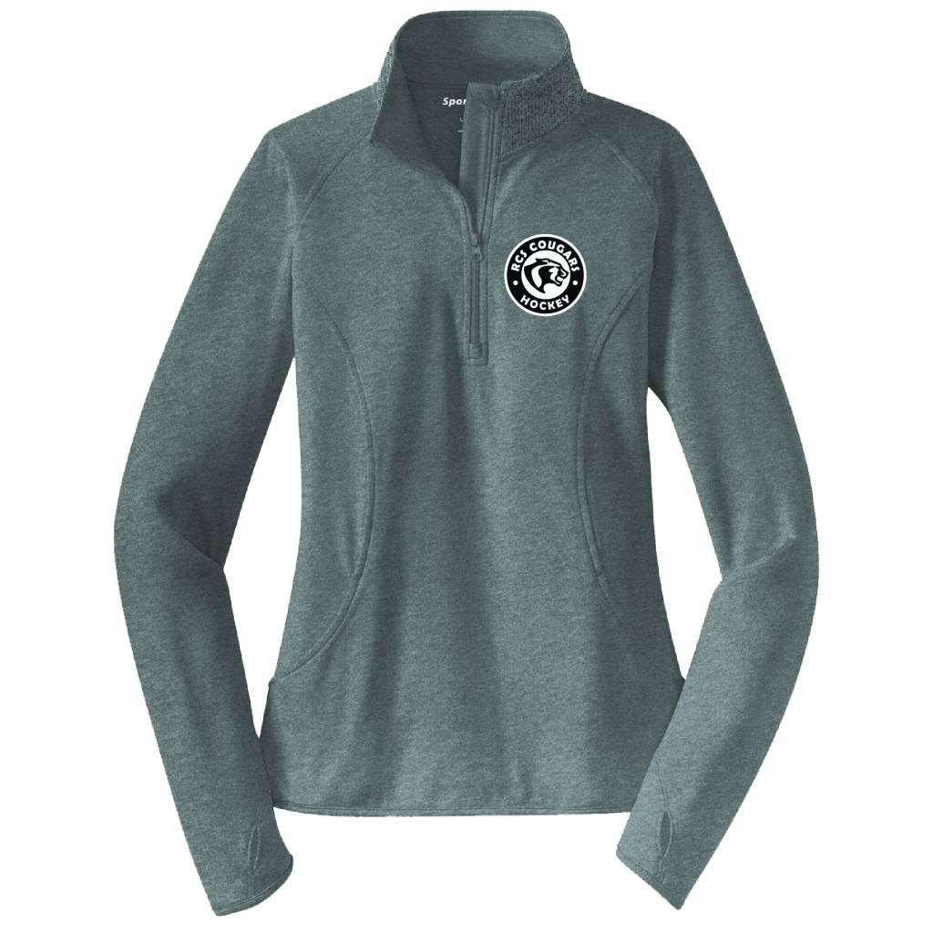 Sport Tek Sport-Tek® Ladies Sport-Wick® Stretch 1/2-Zip Pullover ( Charcoal Grey Heather )