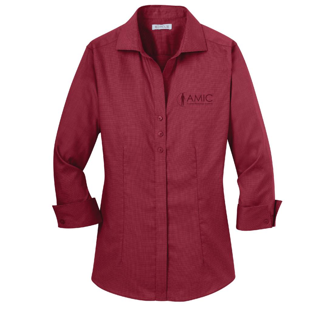Red House Red House Ladies 3/4 Sleeve Non-Iron Shirt (Deep Red)