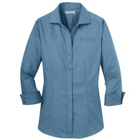 Red House Red House Ladies 3/4 Sleeve Non-Iron Shirt (Teal Blue)