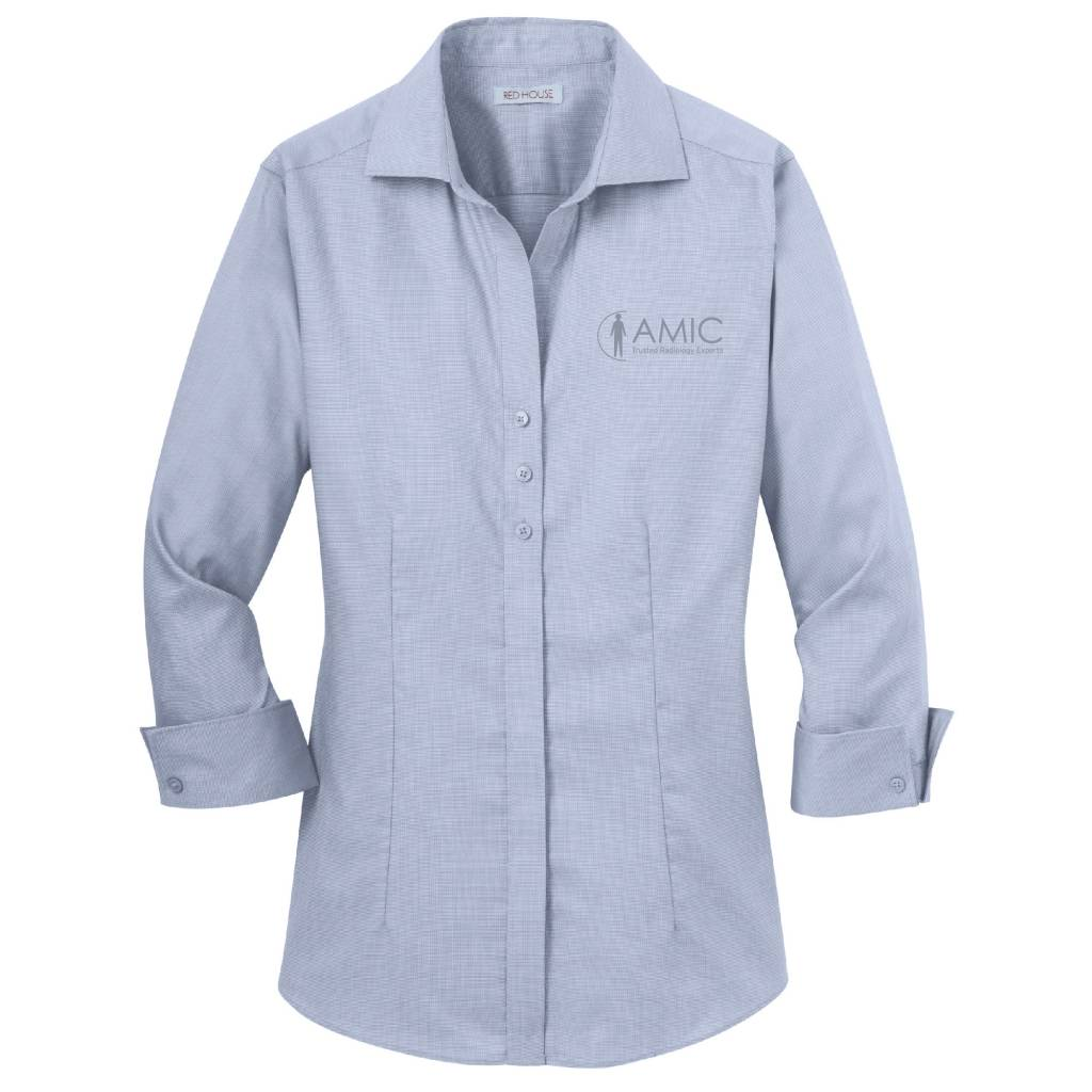 Red House Red House Ladies 3/4 Sleeve Non-Iron Shirt (Slate Blue)