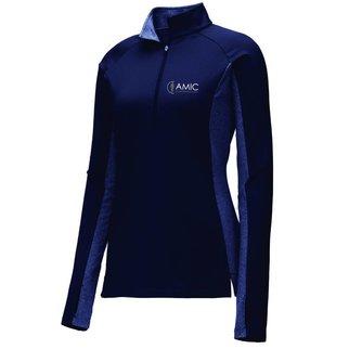 Sport Tek Sport-Tek Ladies Stretch 1/2 Zip Pullover ( True Navy/ True Navy Heather )