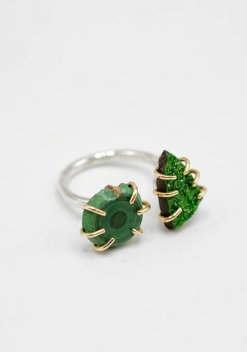 Melissa Joy Manning Gold Uvarovite Double Ring