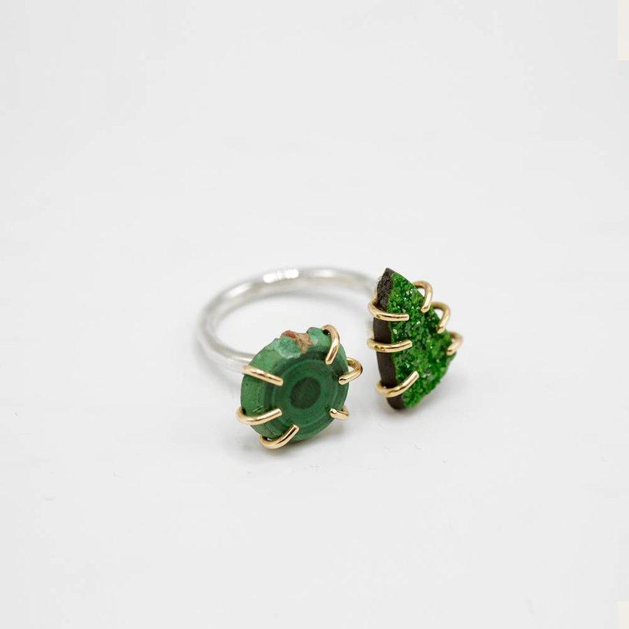 Gold Uvarovite/Malachite Double Ring