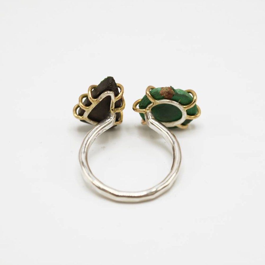 Gold Uvarovite/Malachite Double Ring