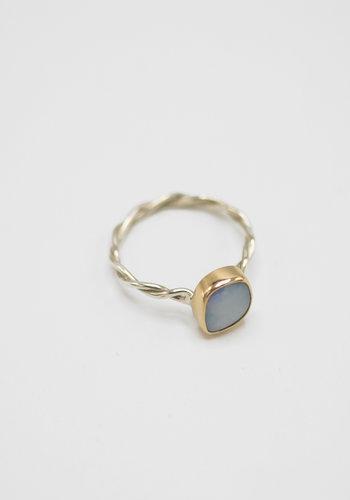 Melissa Joy Manning Gold Set Opal Link Ring