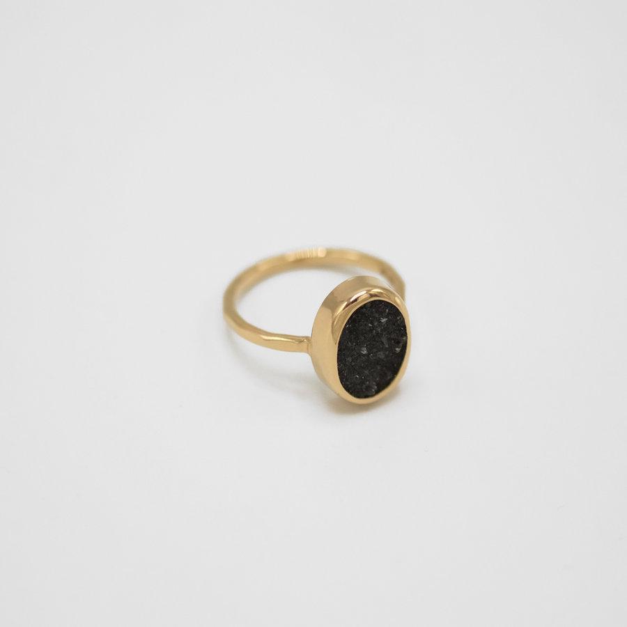 Black Druzy Agate Ring