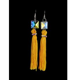 Crystal AB Yellow Tassel