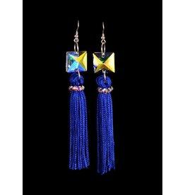 Crystal AB Blue Tassel