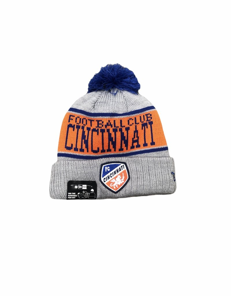New Era Knit Stripe Gray Pom Hat