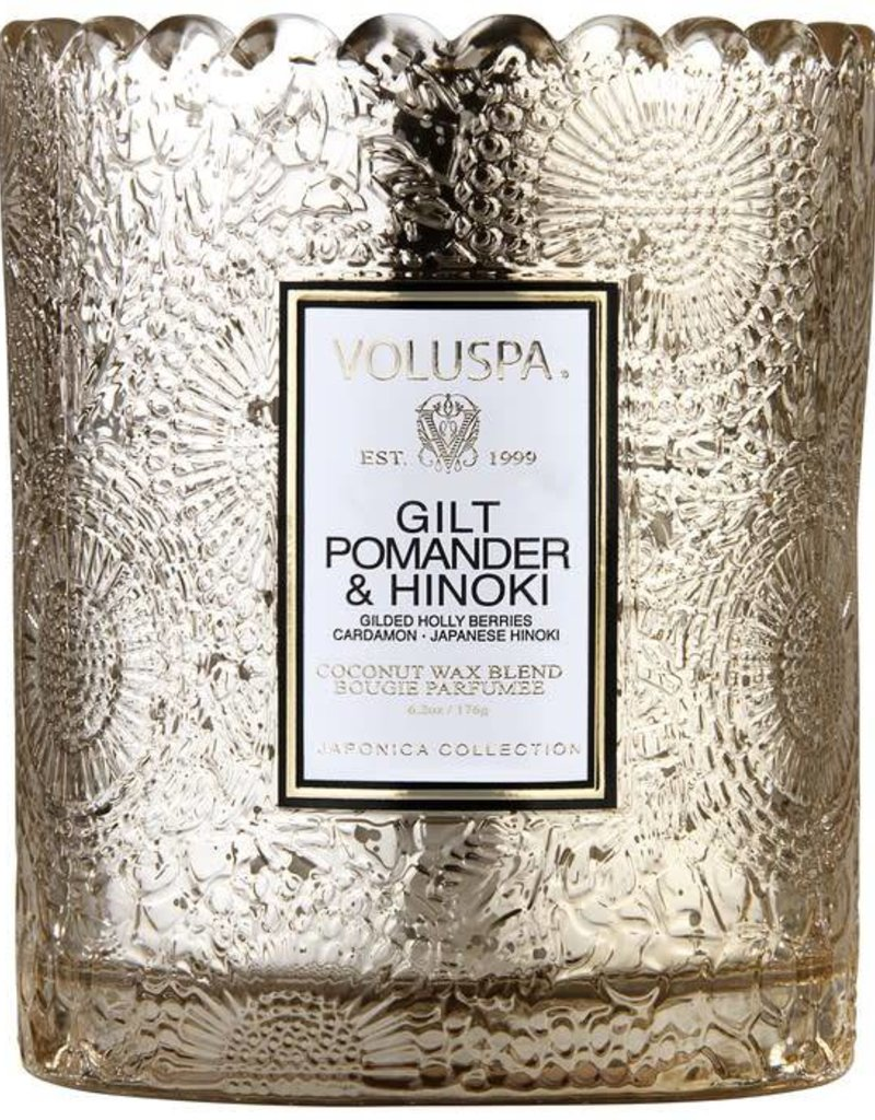 Voluspa Gilt Pomander & Hinoki Scalloped Candle