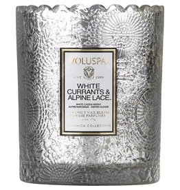 Voluspa White Currants and Alpine Lace Scalloped Candle