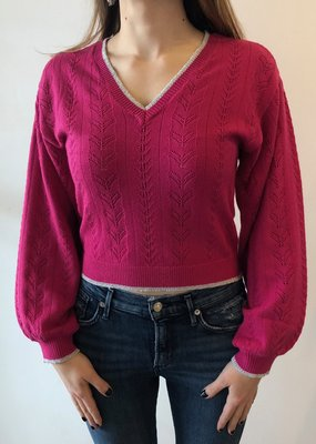 Cupcakes and Cashmere Ravi Carmine Pink Sweater