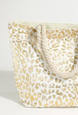 Kenzington Alley Metallic Leopard beach bag