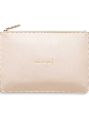 Katie Loxton Perfect Pouch Heart of Gold Metallic Champagne