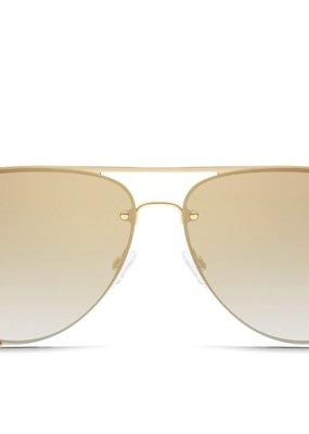 Quay Australia High Key Rimless Sunglasses GLD/BRWN