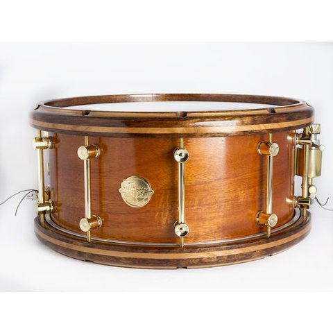 """Doc Sweeney """"Cohiba"""" Steam Bent Mahogany Snare<br /> 14x7 with Caribbean Rosewood Hoops"""