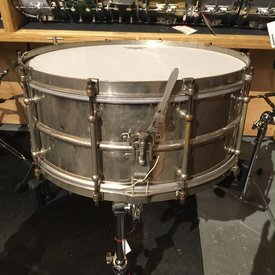 Used Vintage 1920's Ludwig Standard 6.5x15 10-lug Snare Drum, Nickel Over Brass, Not Original Throw Off