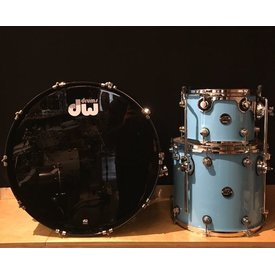 DW Used DW Performance 3 Piece Drum Kit, 24, 12, 16, Baby Blue Re-wrap