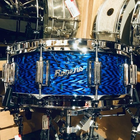 Rogers Dynasonic 5x14 Wood Shell Snare Drum in Blue Onyx, Beavertail lugs
