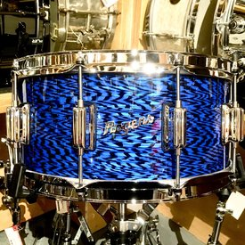Rogers Rogers Dynasonic 6.5x14 Wood Shell Snare Drum in Blue Onyx, Beavertail lugs