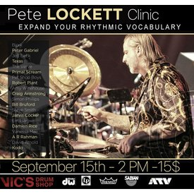 Vic's Drum Shop Pete Lockett. 9/15 Clinic