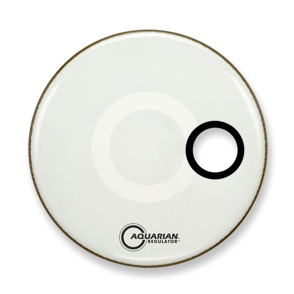 "Aquarian Aquarian Regulator Series Small Hole 18"" Drumhead with Ring - White"