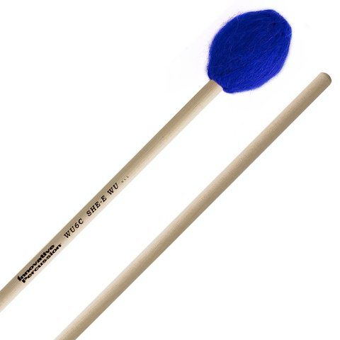 Innovative Percussion Very Hard Concerto Marimba Mallets - Electric Blue Bamboo Yarn - Birch