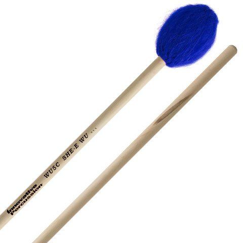 Innovative Percussion Hard Concerto Marimba Mallets - Electric Blue Bamboo Yarn - Birch