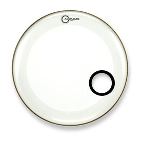 "Aquarian Aquarian Force I Series 16"" Bass Drum Resonant Head and Porthole Drumhead - White"