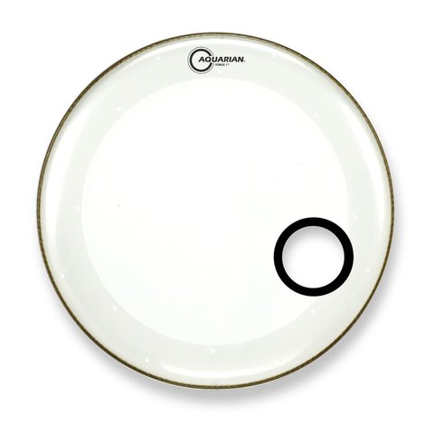 "Aquarian Force I Series 16"" Bass Drum Resonant Head and Porthole Drumhead - White"