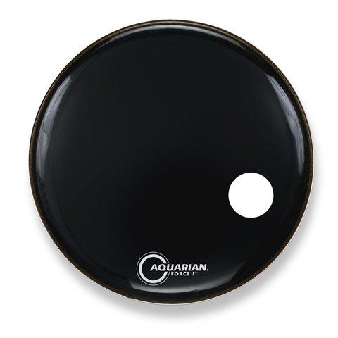 "Aquarian Force I Series 22"" Bass Drum Resonant Head and Porthole Drumhead - Black"