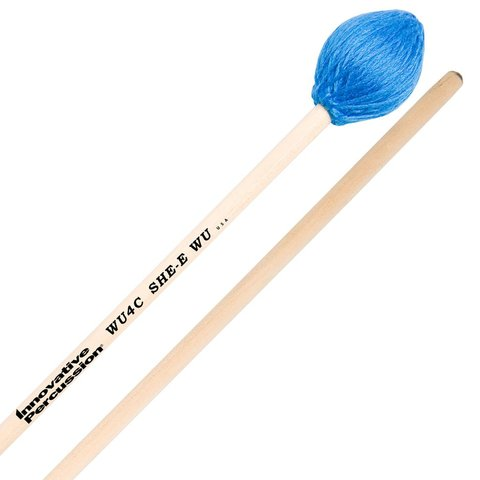 Innovative Percussion Medium Hard Concerto Marimba Mallets - Electric Blue Yarn - Birch