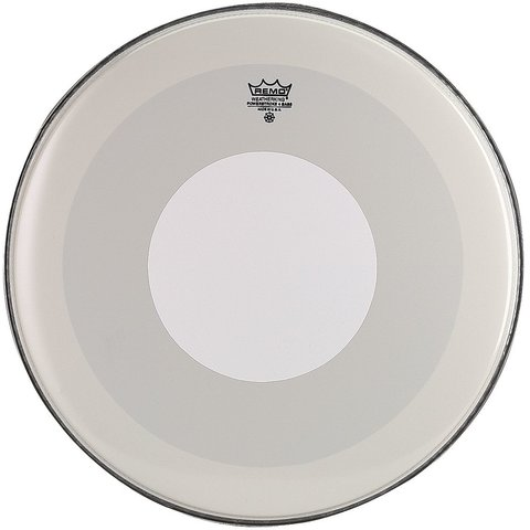 "Remo Smooth White Powerstroke 4 - 22"" Diameter Bass Drumhead - White Dot Top Side"
