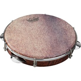 Remo Remo Samba Choro Pandeiro 10x1.75 Key-Tuned Skyndeep Ultratac Goat Brown Drumhead with Chrome Jingles - Antique Veneer Finish