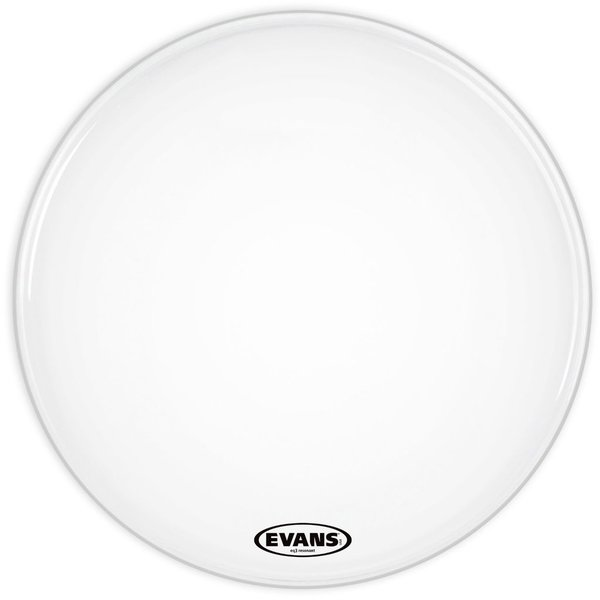 "Evans Evans EQ3 Resonant Smooth White 20"" No Port Bass Drumhead"