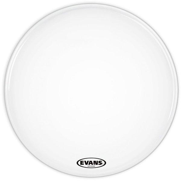 """Evans Evans EQ3 Resonant Smooth White 24"""" No Port Bass Drumhead"""
