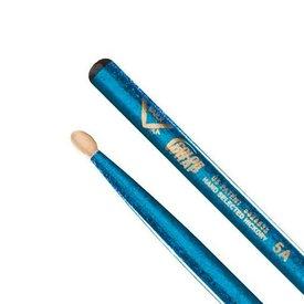 Vater Vater Color Wrap 5A Blue Sparkle Wood Tip Drumsticks