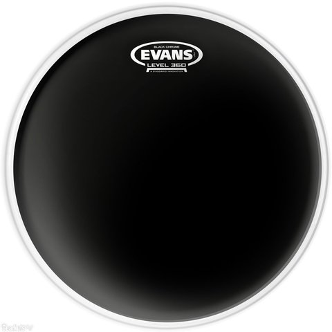 "Evans Black Chrome 16"" Batter Tom Drumhead"