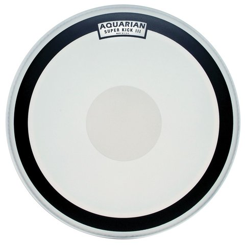 "Aquarian Super-Kick Series Texture Coated 22"" (1-Ply) Drumhead with Power Dot"