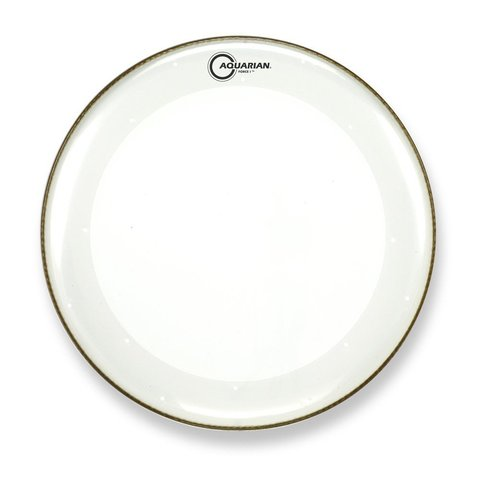 """Aquarian Force I Series 20"""" Bass Drum Batter Head and KP1 Drumhead - Clear"""