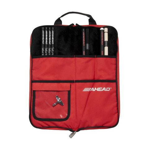 Ahead Deluxe Stick Bag (Black with Red Trim, Red Interior, Plush interior)