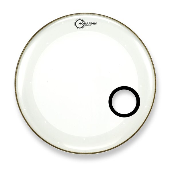 "Aquarian Aquarian Force I Series 22"" Bass Drum Resonant Head and Porthole Drumhead - White"
