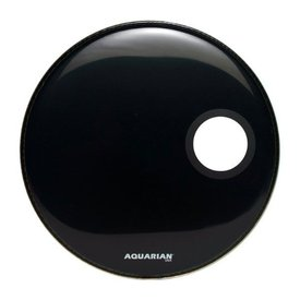 "Aquarian Aquarian Regulator Series Small Hole 20"" Drumhead with Ring - Black"