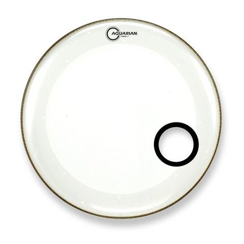 "Aquarian Force I Series 20"" Bass Drum Resonant Head and Porthole Drumhead - White"